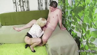 Young stud helps her with her masturbation with his cock