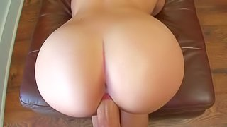 Brittany is a hot blonde with big tits and perfect round ass, She gets her pussy drilled doggy style by pretty thick dick from your point of view showing off her lovely butt at the same time
