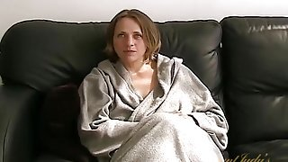 Cute milf in a bathrobe chats and flashes her body