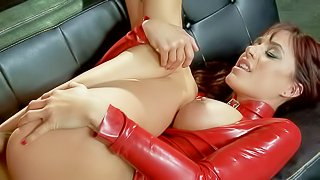 Busty Gia Dimarco has a surprise for Keiran Lee. The one is her sexy red latex outfit. He sucks his long big cock and then gets her moist pussy fucked deep and hard