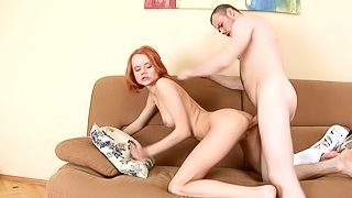 Skinny redhead babe Marilyn is getting fucked