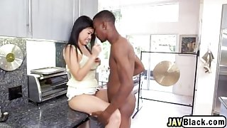 Asian Babe Cindy Blows Big Black Schlong In Kitchen