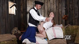 Pretty farm girl fucked in a barn by a horny soldier