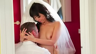 Raven haired Japanese bride Marica Hase with small natural tits takes off her virgin white panties after cock sucking. Man licks her sweet exotic pussy before she takes his dick in her hole