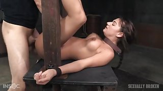 Sex slave used hard by two guys in the dungeon