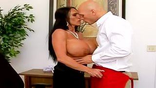 Johnny Sins gets a new and pretty arousing brunette secretary with a set of really huge boobs and seduces him over a lunch break for a hot sex session easily