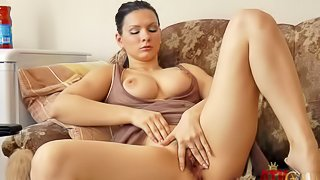 Blanka is a beautiful curvy brunette. Sweet lady in nice dress plays with her perfect big boobies and then spreads her legs to stroke her hairy pussy. Watch well-endowed lady do it on camera