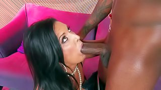 Sammy Brooks is a big breasted white milf who is hungry for cock. She gets a surprise on Christasms. Long haired breasty milf brunette gives headjob to big dicked black Santa eagerly