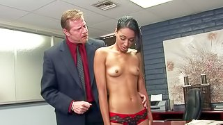 Beautifully tall sexy Isabella Pena with small tits and long legs gets interviewed and fucked by Principal Chibbles! She bares it all and opens her legs. he eats her sexy pussy like crazy and then inserts his pole in her fuck hole
