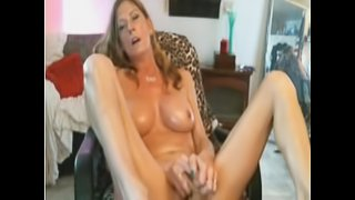 Oiled MILF dildo play on chair - Add her Snapchat RubySuce