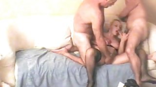 Horny mature wife shared in threesome video