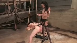 Ebony Shemale in Lingerie Destroying a Tied Up White Dude's Asshole